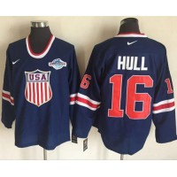 Team USA #16 Brett Hull Navy Blue 2014 Olympic Nike Throwback Stitched NHL Jersey