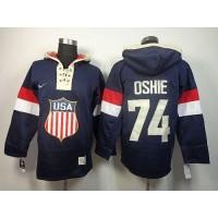 Team USA Olympics #74 T. J. Oshie Navy Blue Sawyer Hooded Sweatshirt Stitched NHL Jersey