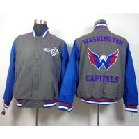 Washington Capitals Blank Satin Button-Up Grey NHL Jacket