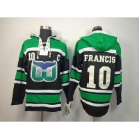 Whalers #10 Ron Francis GreenBlack Sawyer Hooded Sweatshirt Stitched NHL Jersey