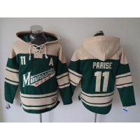 Wild #11 Zach Parise Green Sawyer Hooded Sweatshirt Stitched NHL Jersey