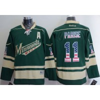 Wild #11 Zach Parise Green USA Flag Fashion Stitched NHL Jersey