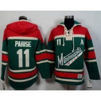 Wild #11 Zach Parise GreenRed Sawyer Hooded Sweatshirt Stitched NHL Jersey