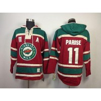 Wild #11 Zach Parise Red Sawyer Hooded Sweatshirt Stitched NHL Jersey