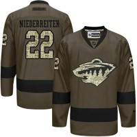 Wild #22 Nino Niederreiter Green Salute to Service Stitched NHL Jersey