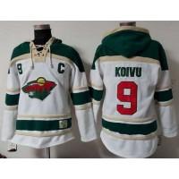 Wild #9 Mikko Koivu White Sawyer Hooded Sweatshirt Stitched NHL Jersey
