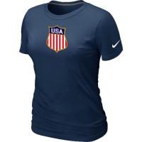 Women's Nike Team USA Hockey Winter Olympics KO Collection Locker Room T-Shirt Dark Blue
