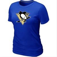 Women's Pittsburgh Penguins Big & Tall Logo Blue NHL T-Shirts