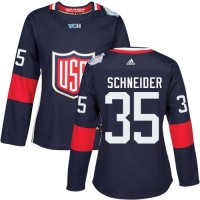 Women's Team USA #35 Cory Schneider Navy Blue 2016 World Cup Stitched NHL Jersey