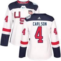 Women's Team USA #4 John Carlson White 2016 World Cup Stitched NHL Jersey