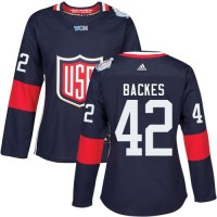 Women's Team USA #42 David Backes Navy Blue 2016 World Cup Stitched NHL Jersey