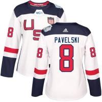 Women's Team USA #8 Joe Pavelski White 2016 World Cup Stitched NHL Jersey