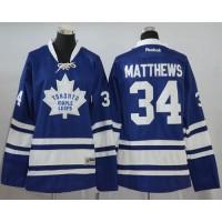 Women's Toronto Maple Leafs #34 Auston Matthews Blue Alternate Stitched NHL Jersey