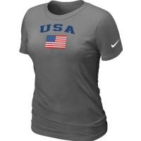 Women's USA Olympics USA Flag Collection Locker Room T-Shirt Dark Grey