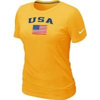 Women's USA Olympics USA Flag Collection Locker Room T-Shirt Yellow