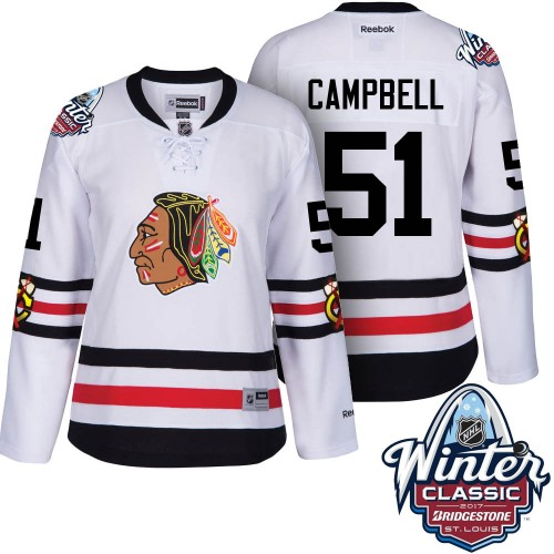 b88049dea Women Chicago Blackhawks #51 Brian Campbell White 2017 Winter Classic  Stitched NHL Jersey