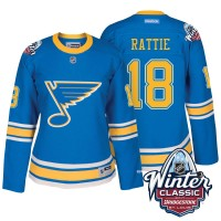 Women St. Louis Blues #18 Ty Rattie Blue 2017 Winter Classic Stitched NHL Jersey