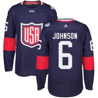 Youth Team USA #6 Erik Johnson Navy Blue 2016 World Cup Stitched NHL Jersey