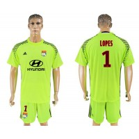 Lyon #1 Lopes Shiny Green Goalkeeper Soccer Club Jersey