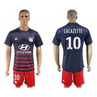 Lyon #10 Lacazette Away Soccer Club Jersey