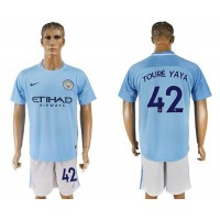 Manchester City #42 Toure Yaya Home Soccer Club Jersey
