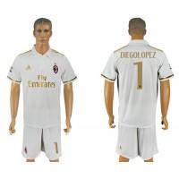 AC Milan #1 Diegolopez Away Soccer Club Jersey