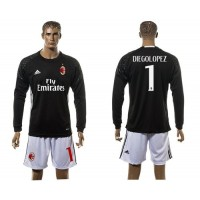 AC Milan #1 Diegolopez Black Goalkeeper Long Sleeves Soccer Club Jersey