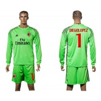 AC Milan #1 Diegolopez Green Goalkeeper Long Sleeves Soccer Club Jersey