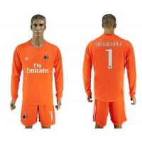 AC Milan #1 Diegolopez Orange Goalkeeper Long Sleeves Soccer Club Jersey