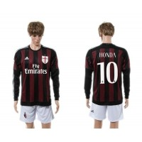 AC Milan #10 Honda Home Long Sleeves Soccer Club Jersey