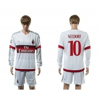 AC Milan #10 Seedorf Away Long Sleeves Soccer Club Jersey