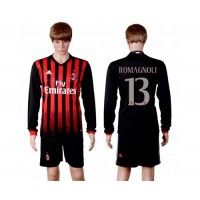 AC Milan #13 Romagnoli Home Long Sleeves Soccer Club Jersey