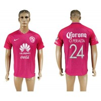 America #24 O.Peralta Pink Soccer Club Jersey