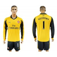 Arsenal #1 Szczesny Away Long Sleeves Soccer Club Jersey