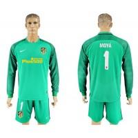 Atletico Madrid #1 Moya Green Goalkeeper Long Sleeves Soccer Club Jersey
