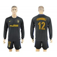 Atletico Madrid #12 Fernandez Away Long Sleeves Soccer Club Jersey