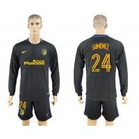Atletico Madrid #24 Gimenez Away Long Sleeves Soccer Club Jersey