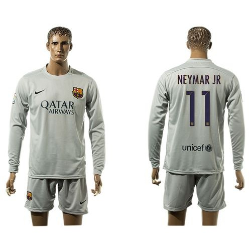 newest b1204 40616 Barcelona #11 Neymar Jr Grey Long Sleeves Soccer Club Jersey