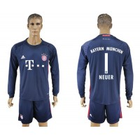 Bayern Munchen #1 Neuer Dark Blue Goalkeeper Long Sleeves Soccer Club Jersey