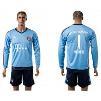 Bayern Munchen #1 Neuer Light Blue Long Sleeves Soccer Club Jersey