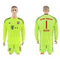 Bayern Munchen #1 Neuer Shiny Green Goalkeeper Long Sleeves Soccer Club Jersey