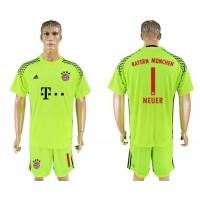 Bayern Munchen #1 Neuer Shiny Green Goalkeeper Soccer Club Jersey