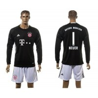 Bayern Munchen #1 Neuer black Light Blue Long Sleeves Soccer Club Jersey