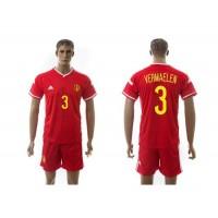 Belgium #3 Vermaelen Red Home Soccer Club Jersey