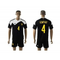 Belgium #4 Kompany Black Away Soccer Club Jersey