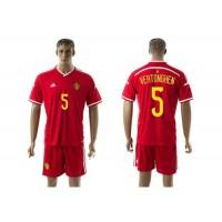 Belgium #5 Vertonghen Red Home Soccer Club Jersey