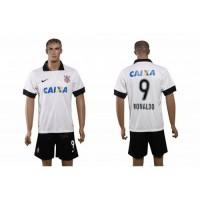 Corinthians #9 Ronaldo White Home Soccer Club Jersey