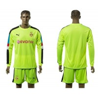 Dortmund Blank Shiny Green Long Sleeves Goalkeeper Soccer Club Jersey