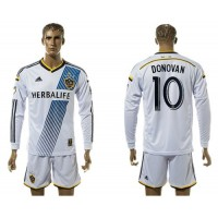 Los Angeles Galaxy #10 Donovan Home Long Sleeves Soccer Club Jersey