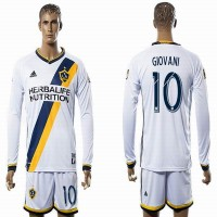 Los Angeles Galaxy #10 GIOVANI White Home Long Sleeves Soccer Club Jersey